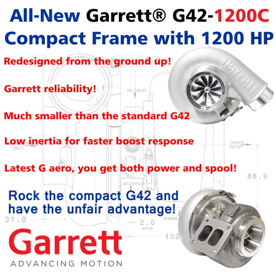 All-New Garrett G42-1200C, Compact Frame with 1200 HP