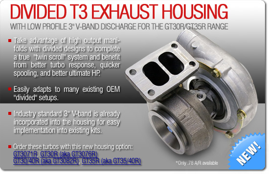 "Divided T3 Exhaust Housing with Low Profile 3"" V-Band Discharge for the GT30/GT35R Range"
