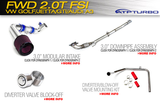 FWD 2.0L FSI Downipe Kit and Modular Intake for VW Golf/Jetta/GTI/Audi A3